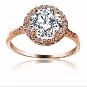 Round CZ W Halo, Pave Band 9 KT Rose Gold …